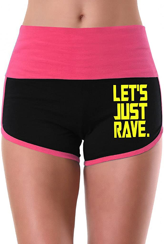Womens Lets Just Rave V417 Pink//Black Athletic Workout Yoga Shorts