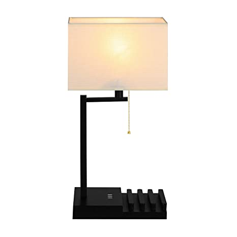 Multi Functional Table Lamp, Hompen Black Base Desk Lamp With Cream  Lampshade, 3