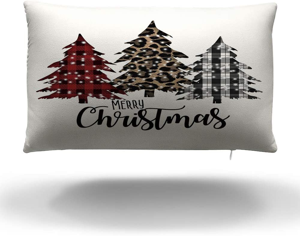 QIQIANY Merry Christmas Buffalo Plaid Christmas Trees Pillow Cover 12x20 Inches Soft Velvet Material, Winter Holiday Christmas Tree Decor Pillows Cushion Case for Sofa Chair Couch Bedroom