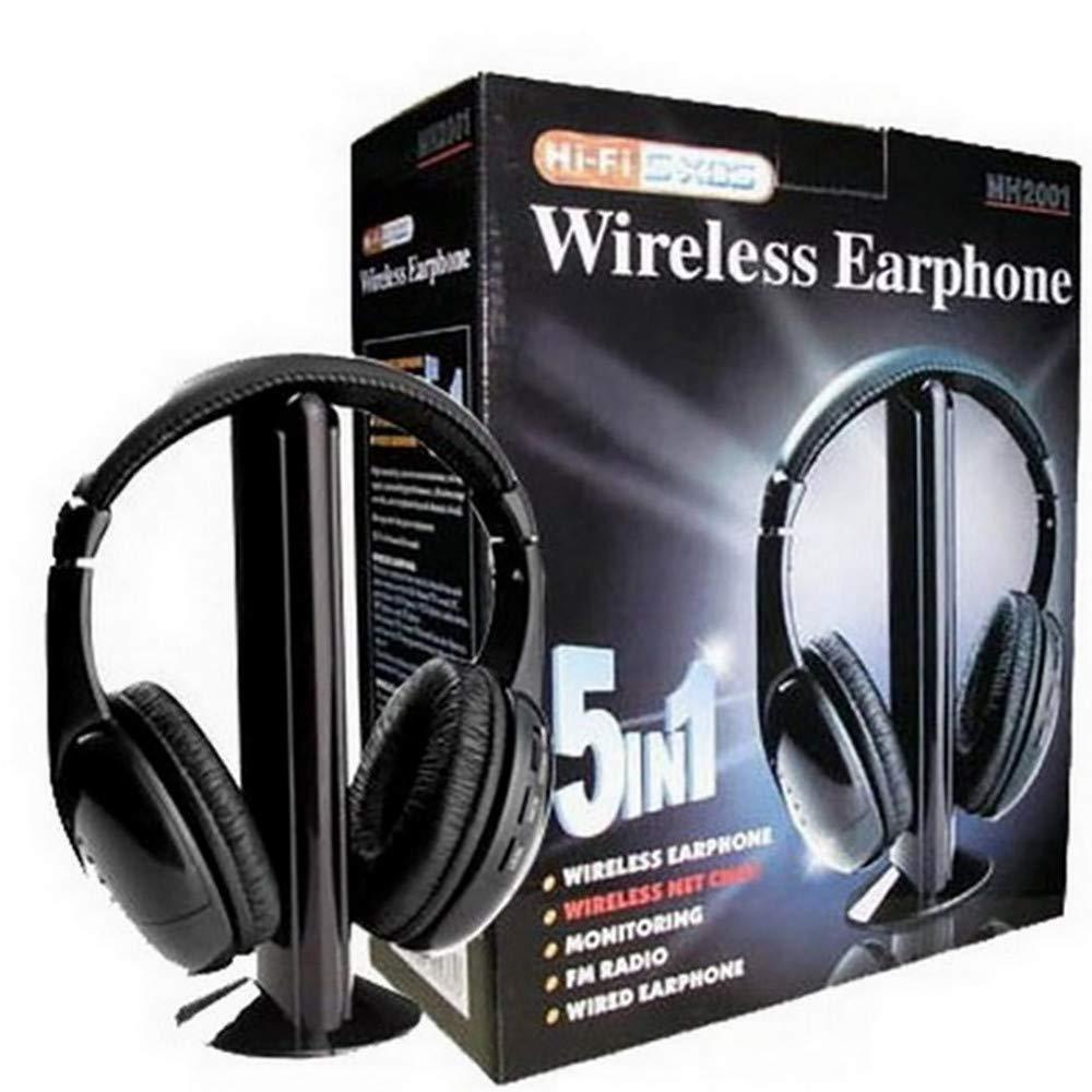 BOBOLover Auriculares Inalambricos 5 en 1 Hi-Fi Auriculares Inal/ámbricos Auriculares Auriculares para PC Laptop TV Radio FM MP3