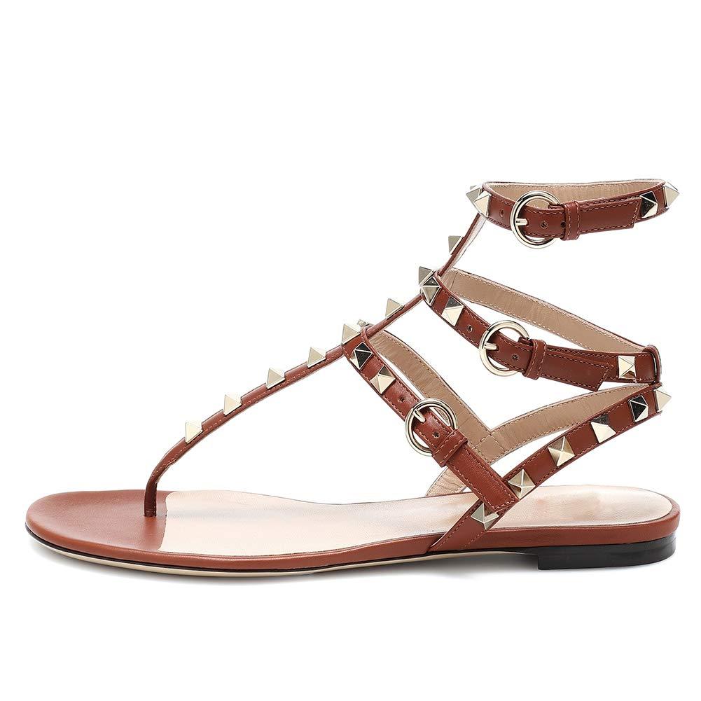braun Lutalica Damenmode T-Strap Besetzt Casual Komfort Sommer Flache Sandalen Schuhe