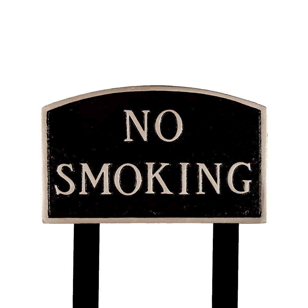 Montague Metal Products SP-9L-BS-LS Large Black and Silver No Smoking Arch Statement Plaque with 2 23-Inch Lawn Stake