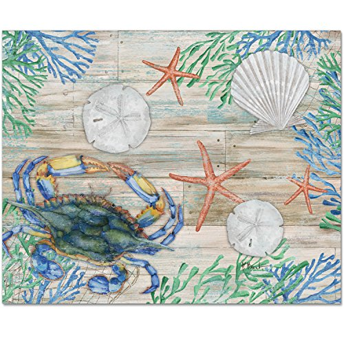 CounterArt 15 by 12-Inch Glass Cutting Board, Clearwater Sea Life
