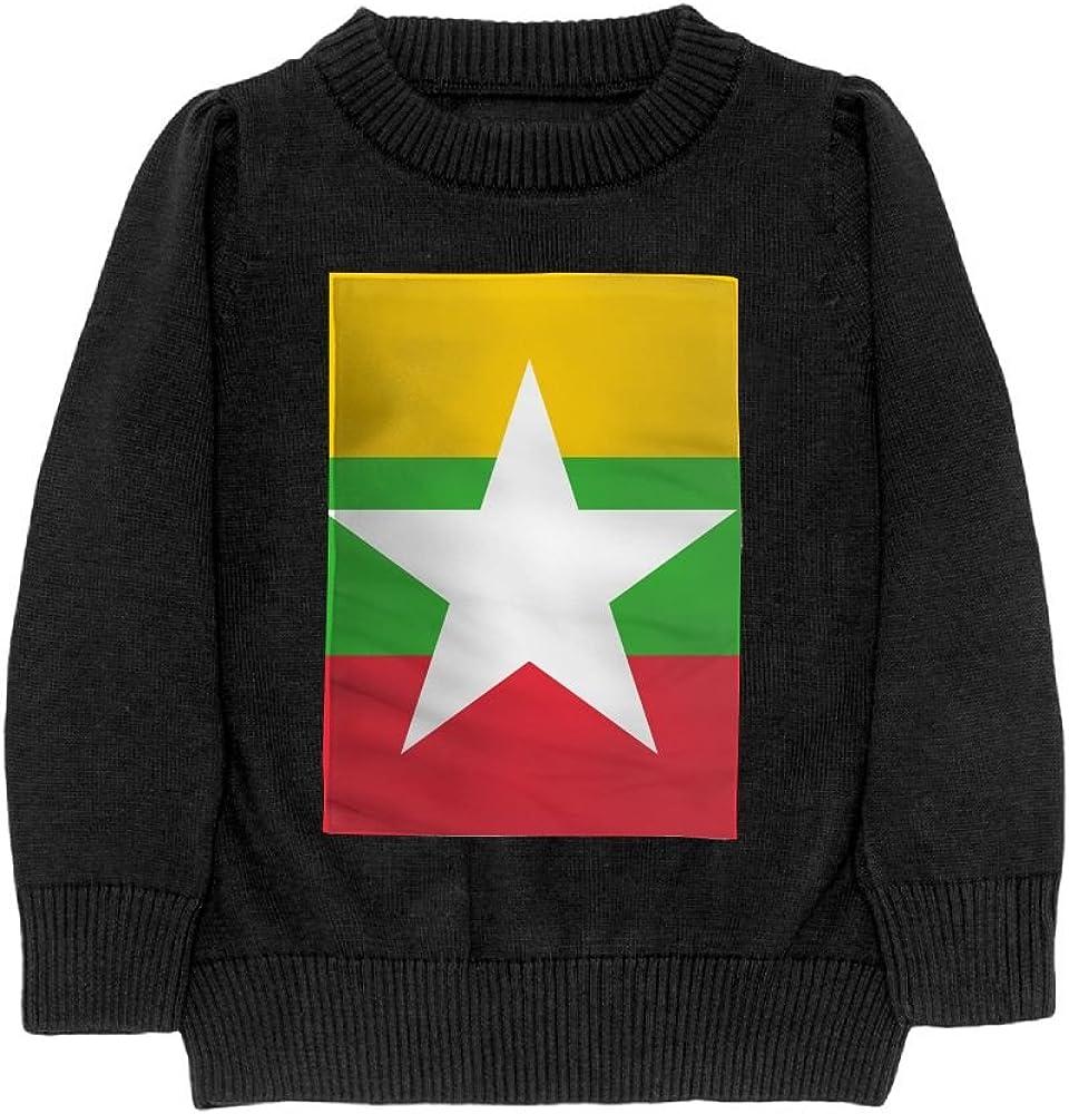 DTMN7 Flag Of Myanmar Teens Sweater Long Sleeves Crew-Neck Youth Athletic Casual Tee Junior Boys