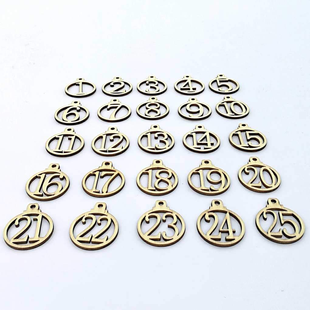 Zerama A-Z Initial Wooden 1-25 Number Wood Christmas Advent Calendar Tags Wedding Candy Gift Present Box Wrapping Tags