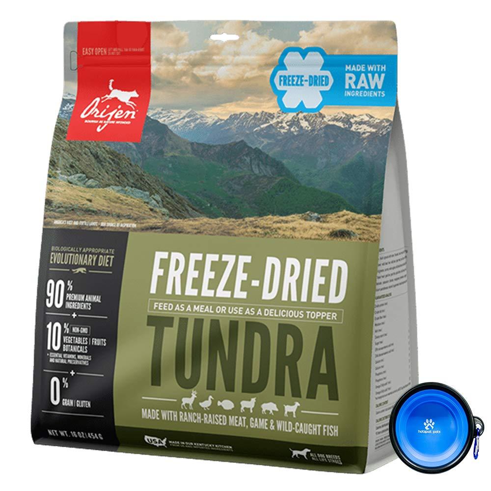 Orijen Freeze Dried Dog Food Snacks, Freeze-Dried Raw 16-Ounce Bag with Hot Spot Pets Food Bowl - Made in USA (Tundra) by Orijen