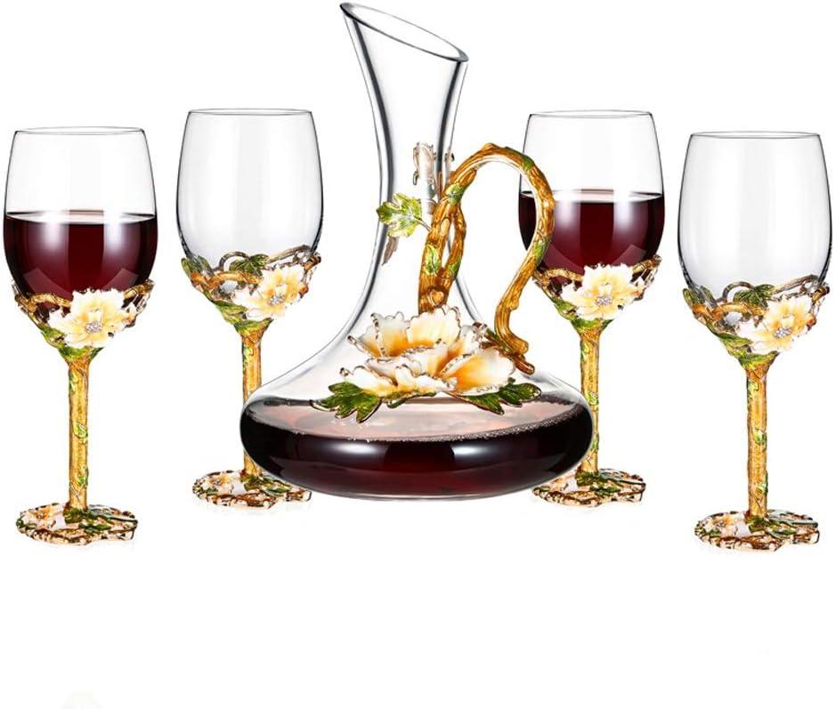 YONGMEI Cubilete - Vino de Cristal de Vidrio Set 4 Copas de Vino 1 ...