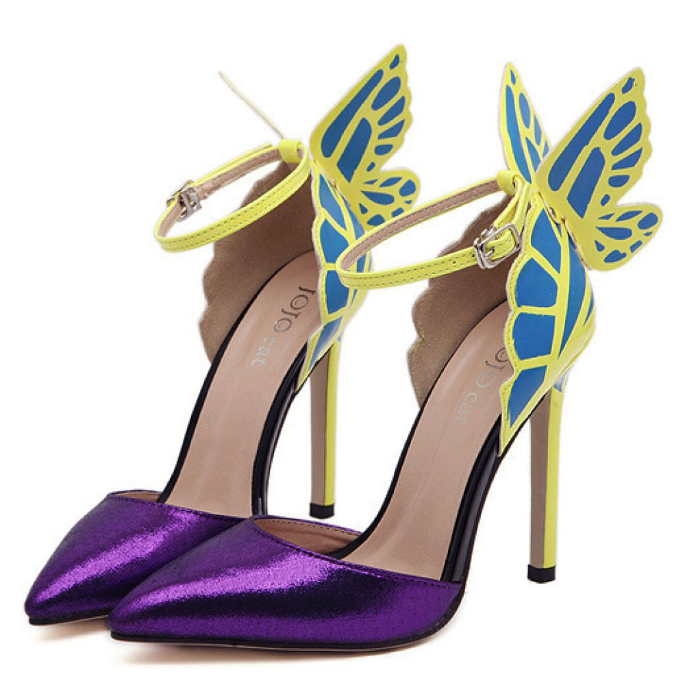 523d0392c3531a ZPFME Damen High Heels Ankle Strap Pumps Passende Schmetterling Spitzschuh   Amazon.de  Bekleidung