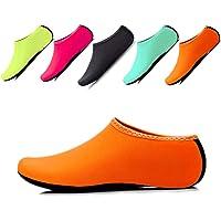 JIASUQI Kids Boys and Girls Barefoot Aqua Water Skin Shoes Socks for Beach Sand Swimming Aerobics Sports Orange UK 12.5/1 Child, tag XS