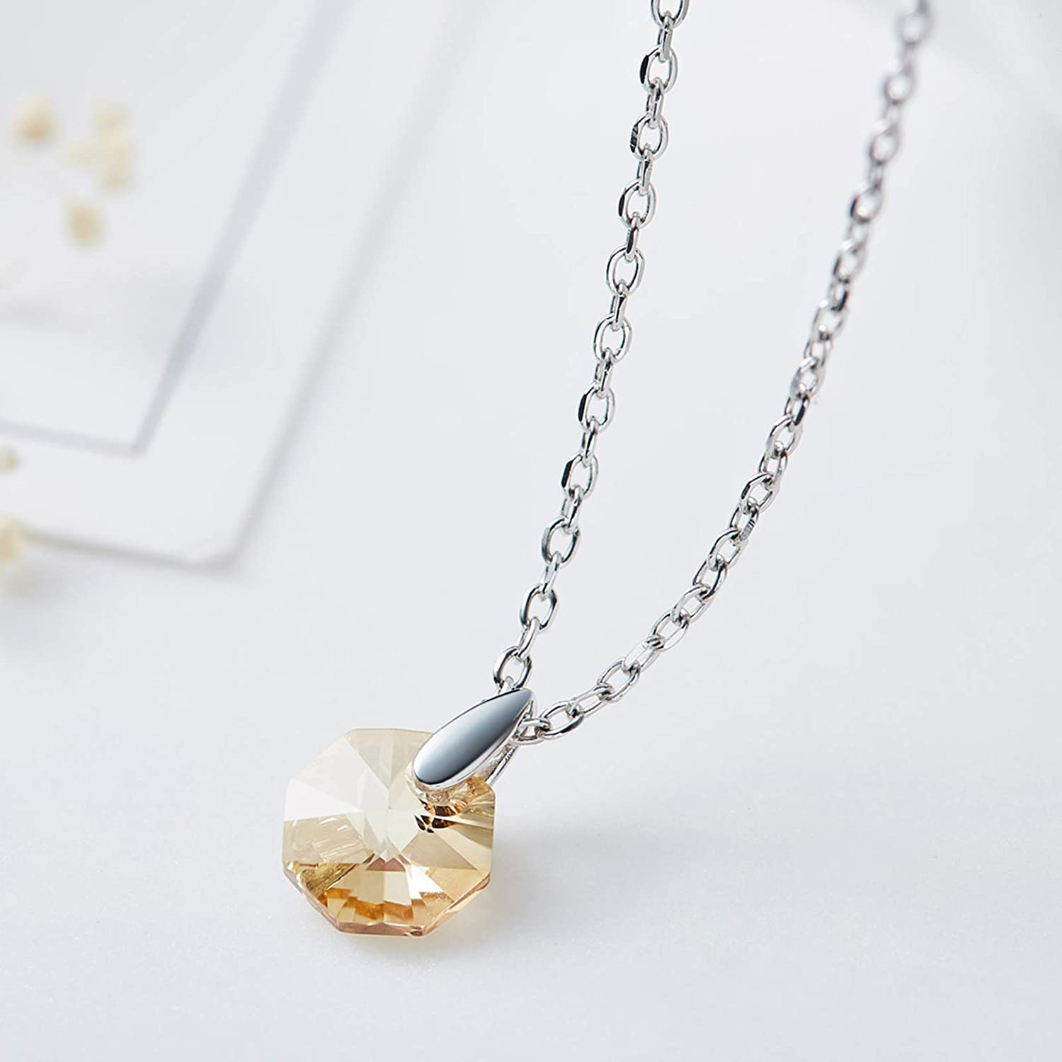 Aienid Necklace for Women 925 Sterling Silver Element Crystal Hexagon Pendant Necklace Purple//Pink//Gold