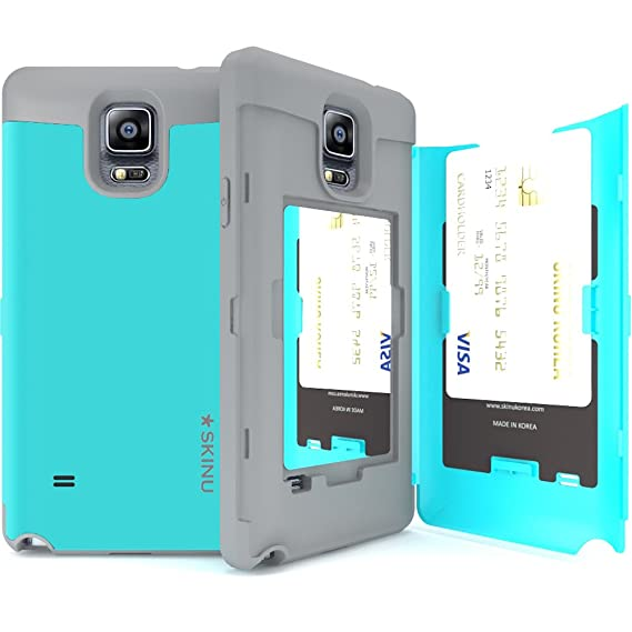Galaxy Note 4 Case, Galaxy Note 4 Card Case, SKINU [Eureka] [Teal]  [Shockproof] [Dual Layer] [Card Slot] [Drop Protection] [Wallet] with  Mirror for