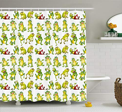 Ambesonne Nursery Shower Curtain, Frogs in Different Positions Funny Happy Expressions Faces Toads Cartoon, Cloth Fabric Bathroom Decor Set with Hooks, 70