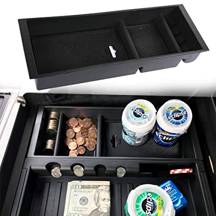 Jdmcar Center Console Armrest Insert Organizer Abs Tray Pallet Storage Box Container Compatible For Ford F150 2015 2016 2017 2018 2019