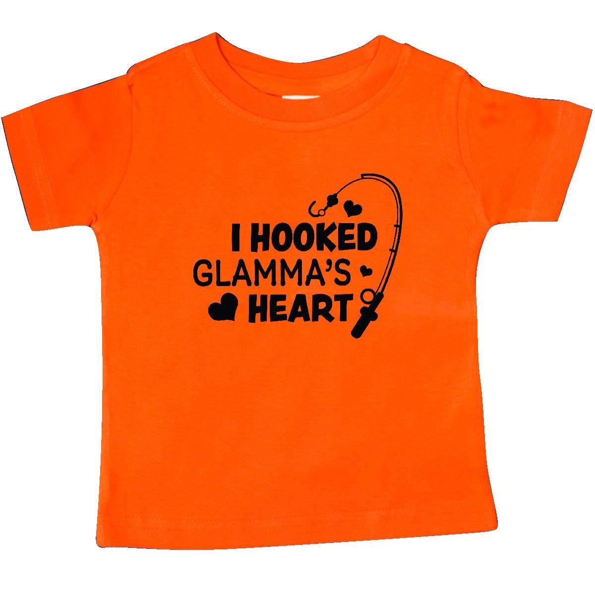inktastic I Hooked Glammas Heart with Fishing Rod Baby T-Shirt