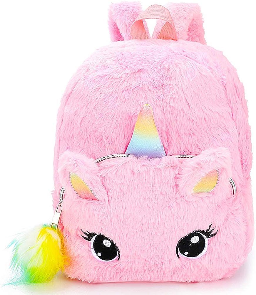 BETOY Unicornio Mochila niñas Mochila Infantiles niños de Peluche Lindo Arco Iris Suave Mochila Mini Unicornio niño Estudiante Viajes