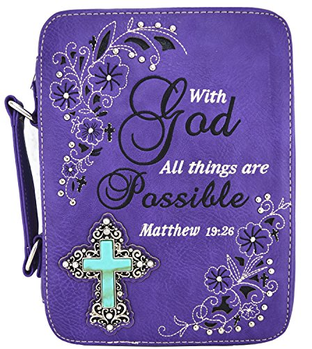 - Western Embroidered Scripture Verse Psalm Bible Cover Books Case Cross Extra Strap Messenger Bag (Purple)