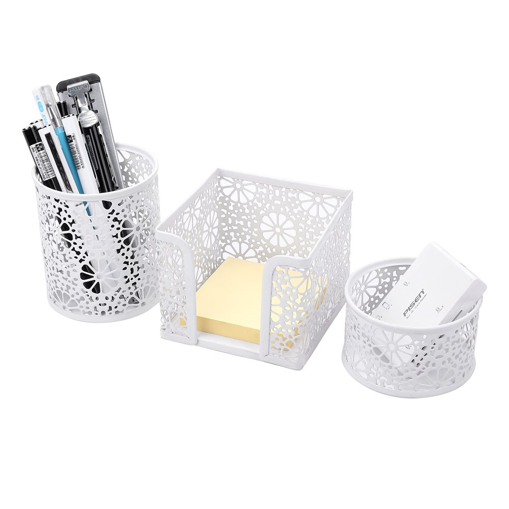 Crystallove Metal Mesh Office Desk Accessories Organizer, White-Style 2, Set of 3