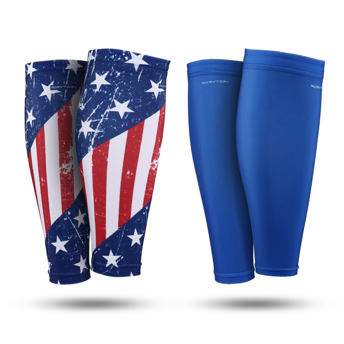 RoryTory Calf Compression Sleeves - Sports & Medical Recovery Shin Splints Leg Pain Relief Support Circulation Cramping Sore Muscles - 2 Pairs of Adult Size XL/XXL USA American Flag Patriotic Design