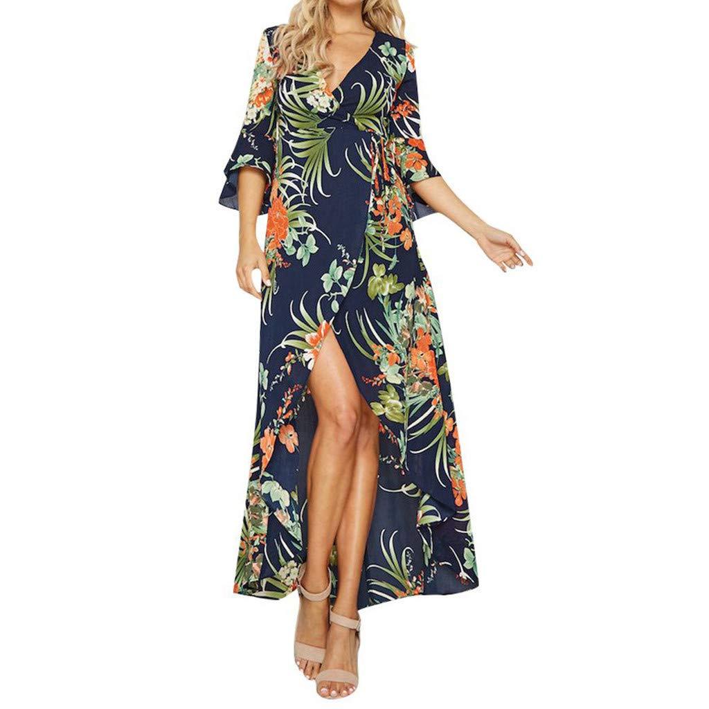 Nmch Women's Bohemia Print Maxi Dress Wrap V Neck Lace Up Long Dress Flare Half Sleeve Party Beach Dresses(Blue,XL)