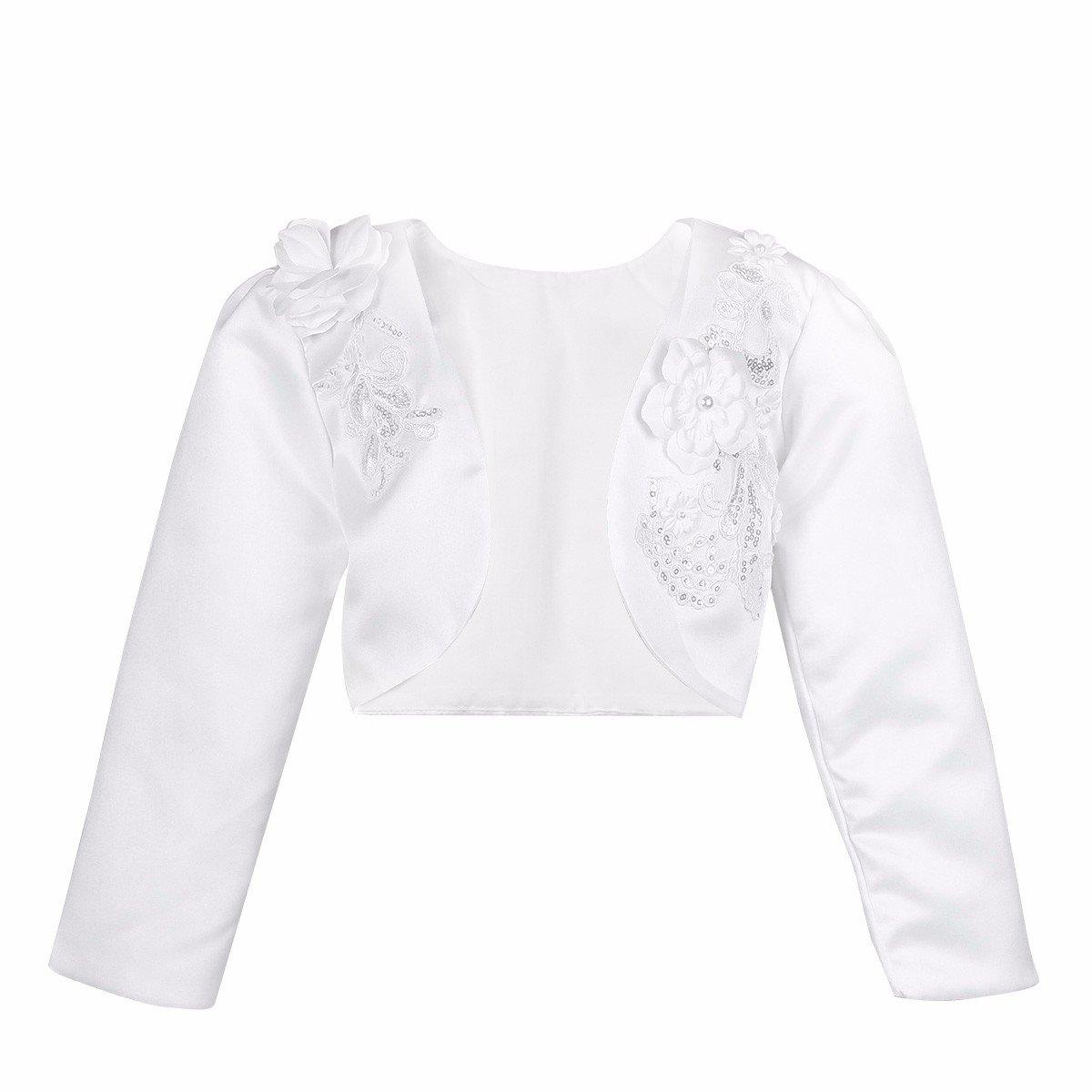 FEESHOW White Kids Girls Long Sleeves Bolero Jacket Shrug Short Cardigan Sweater Dress Cover Up White 7-8