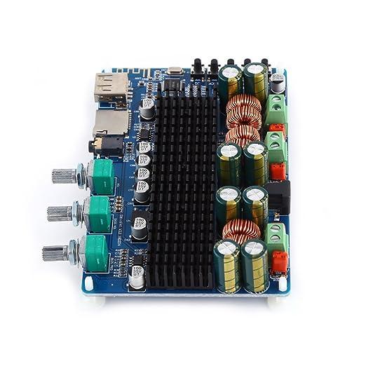 Digital 2.1 Canal Tarjeta de Amplificador Digital Bluetooth USB TF Entrada 50W×2 Subwoofer BTL 100W Inicio Amplificadores de Estéreo para Altavoces DC ...