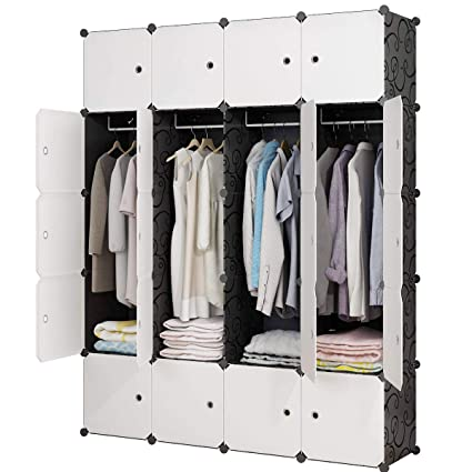 90ee65799d8a KOUSI Portable Closet Wardrobe Closets Clothes Wardrobe Bedroom Armoire Storage  Organizer with Doors