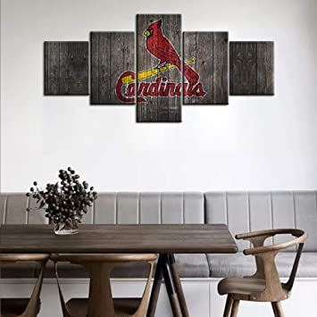 Amazon Com Picture Wall Decorations For Living Room The St Louis Cardinals Team Logo Painting On Canvas American Professional Baseball Poster And Prints Home Decor Wall Art Framed Ready To Hang 50wx24h Inches Everything