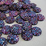 BeadsTreasure 20pcs- Druzy Resin Cabochons, Flat Round, Sparkly Glitter, Purple Metallic Color.