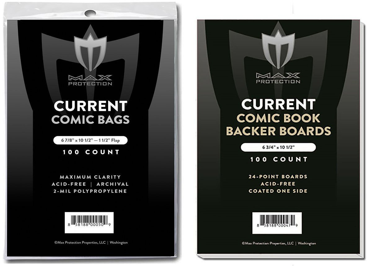 (100) Current Size Ultra Clear Comic Book Bags and Boards - by Max Pro (Qty= 100 Bags and 100 Boards) Max Protection