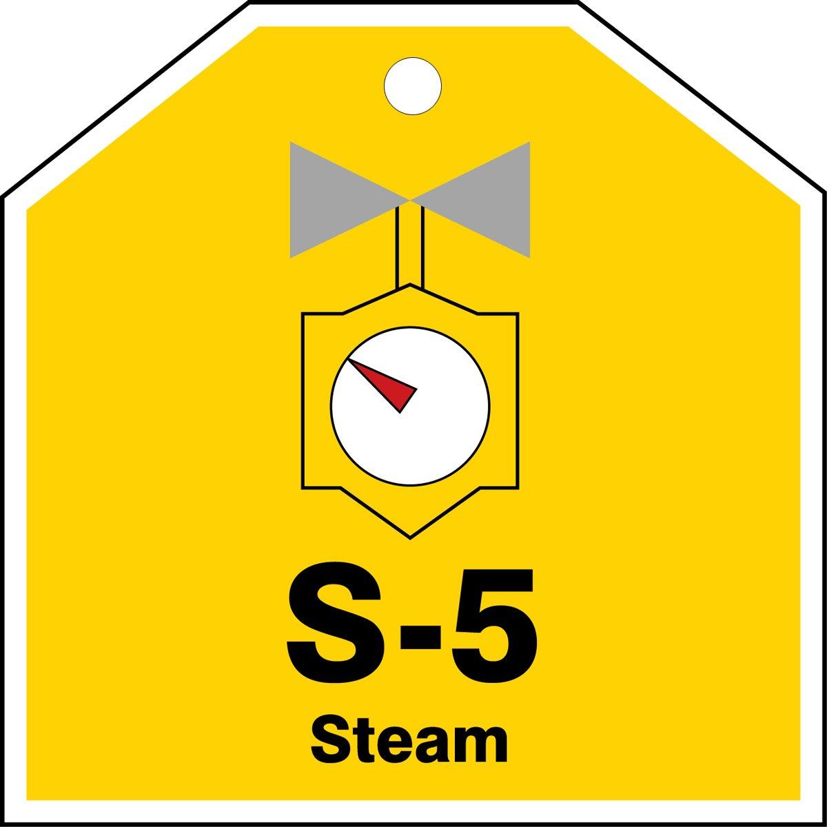 Black//Gray//Red//White on Yellow 2-1//2 W x 2-1//2 L 2-1//2 W x 2-1//2 L Accuform TDJ105VPE PlasticS-5 Steam Energy Source Shape ID Tag