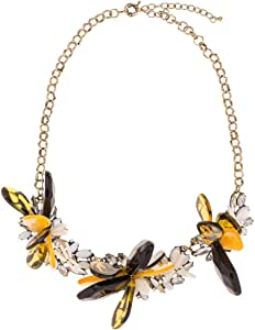 Just Showoff Women's Alloy Amber and Yellow Flower Petal Necklace