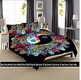 Kiara 3 Pcs Mandala Bedding Posture Million Romantic Soft Bedclothes Plain Quilt Coverlet Twill Bohemian Boho Duvet Cover Set Queen/Twin Size (Multi Kung Fu Mandala, Queen)