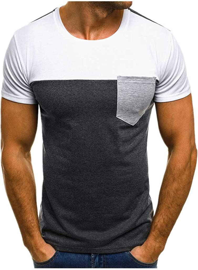 SPE969 Big T-Shirt Men Blouse Top Muscle Slim Casual Fit Short Sleeve Patchwork Pocket