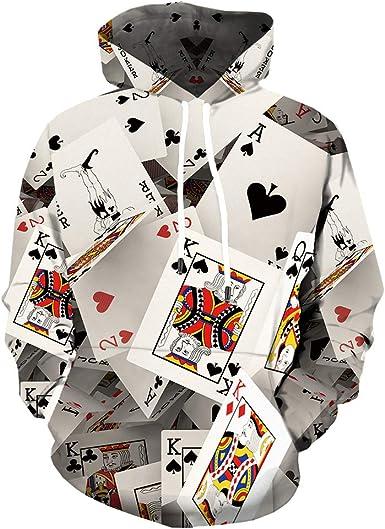 New Couple Women Men Poker 3D Print Hoodie Pullover Sweatshirt Long Sleeve Tops