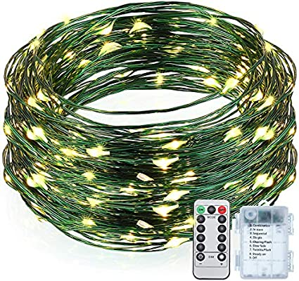 100 Warm White LED Outdoor Battery Operated Fairy String Lights on Green cable