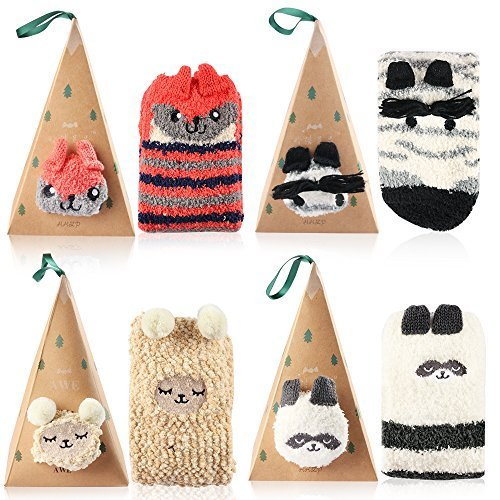 Vanmor 4 Pairs Fuzzy Socks Women Girls Cute Animal Socks with Triangle Box (4 - Cartoon Flat Bags
