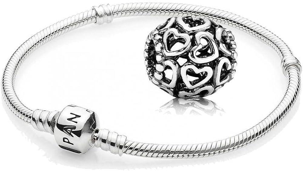 Original Pandora kit/genético 925 plata esterlina - 1 pulsera de plata - tamaño 20 cm - Art. No 590702HV -20 y 1 delicado ahora abrir el corazón - Art. No 790964