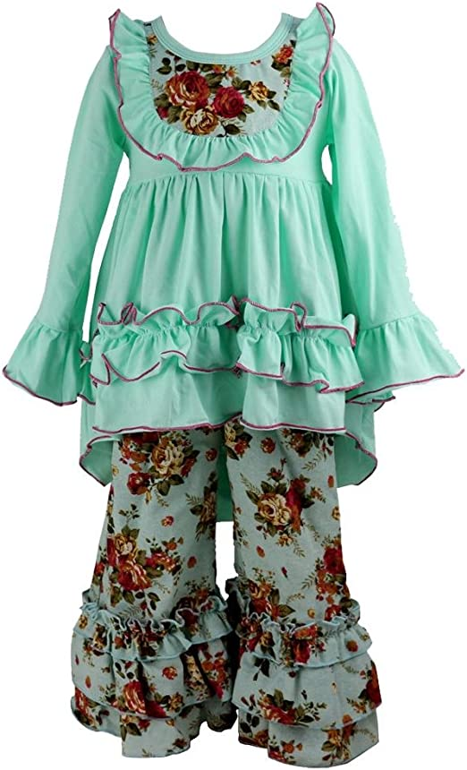 Girls Boutique Clothing  ruffle pants+top outfit set Baby Toddler Blue  New