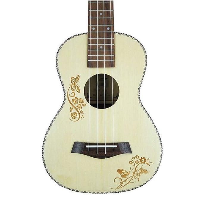 NING-MENG Ukulele 23 pulgadas Spruce Hawaiian guitarra eléctrica Ukelele mariposa amor patrón de flores con ecualización de recogida: Amazon.es: ...