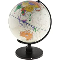 Blesiya Big Colorful World Map Globe for Home Desk Decoration Geography Educational Toys - White, 25cm