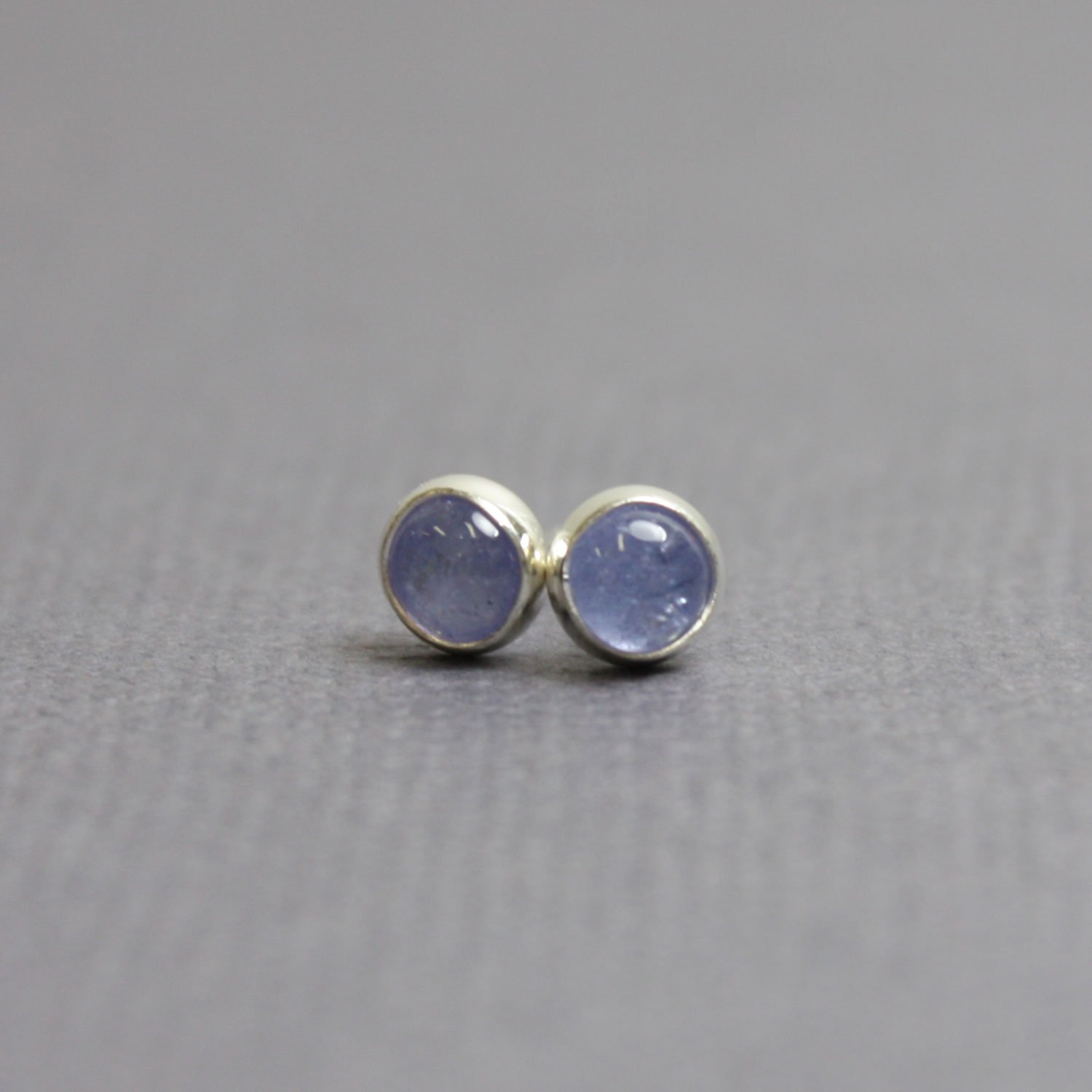 Tanzanite Stud Earrings-4mm Blue Post Earrings in all Sterling Silver-Handmade