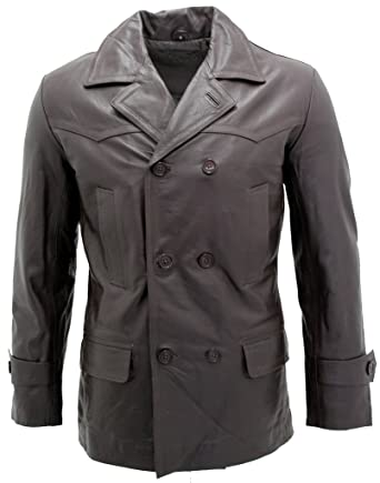 ba69ddd8b Men's Brown German Naval Dr Who Cow Hide Leather Pea Coat