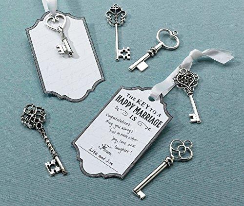 Wedding Ribbon Book Guest (Lillian Rose Guest Book Alternative Silver Key Tag Favors)