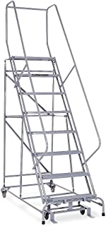 product image for Cotterman - 1008R2632A1E10B4C1P6-8-Step Rolling Ladder, Expanded Metal Step Tread, 110 in Overall Height, 450 lb Load Capacity