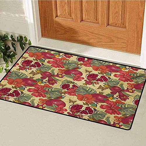(GUUVOR Red Universal Door mat Natural Tropical and Exotic Birds Butterflies Flowers and Pomegranate Illustration Door mat Floor Decoration W31.5 x L47.2 Inch Red and Beige )