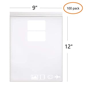 """9"""" x 12"""", 2.5 Mil (Pack of 100) Heavy Duty Plastic Reclosable Zipper Bags with Writable White Blocks Resealable Zip Lock Food Storage Freezer Bags"""