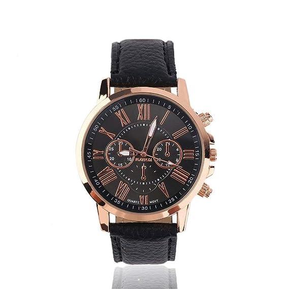 Reloj de pulsera universal casual con números elegantes de piel sintética y aleación de cuarzo,