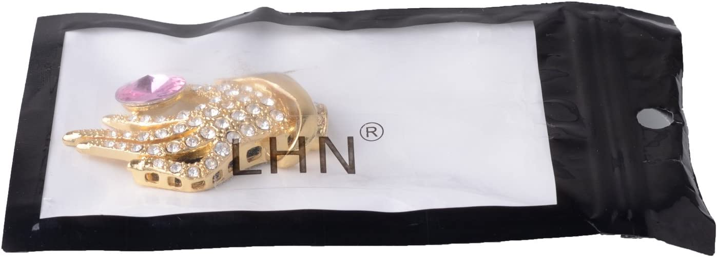 Gold LHN 8GB Gorgeous Hand Palm USB 2.0 Flash Drive with Pink Crystal