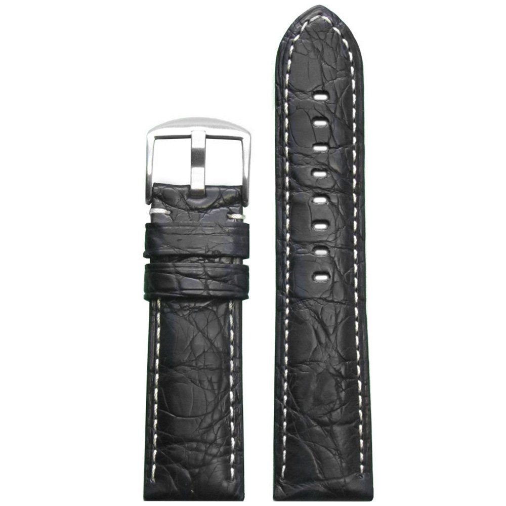 Genuine Crocodile Skin Watch Band withマット仕上げby Panatime 24mm ブラック/ホワイト 24mm|ブラック/ホワイト ブラック/ホワイト 24mm B00T6ROC52
