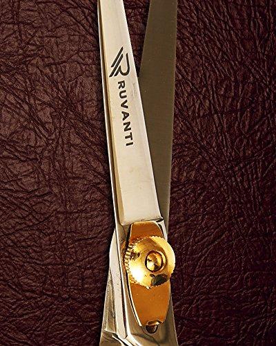 Ruvanti Professional Razor Blades Hair Scissors - Barber Hair Cutting Scissor - 6.5'' Japanese Super Cobalt Stainless Steel Hair Shear - Hairdresser Scissor/Barber Scissors with Gold Painted Screw by Ruvanti (Image #6)